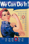 Метален вечен календар We Can Do It!