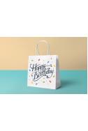 Подаръчна торбичка - Happy birthday White Small