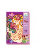 Комплект за рисуване с брокат Djeco - Красиви цветя