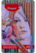 Акварелни моливи Maped - Artist, 12 цвята (метална кутия)