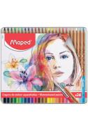 Акварелни моливи Maped - Artist, 24 цвята (метална кутия)