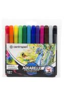 Флумастери Centropen Aquarelle - 12 цвята, акварелни