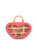 Чантичка с пластмасови мъниста - розова