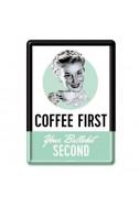 Метална картичка Coffee first
