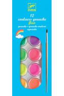 Djeco - Гваш водни бои, 12 неонови цвята