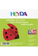 Хартия за оригами - едноцветни, 10 х 10 см, комплект 100 бр.