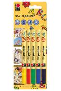 Комплект маркери за текстил Marabu - 5 бр. (1-2 мм)
