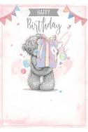 Картичка за Рожден ден с мече държащо подарък