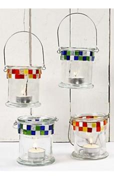 Стъклен свещник - 8 х 10 см, 1 бр.