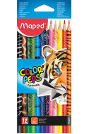Цветни моливи Maped - 12 цвята, Animals